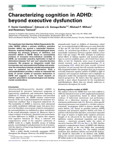 Characterizing cognition in ADHD: beyond executive dysfunction