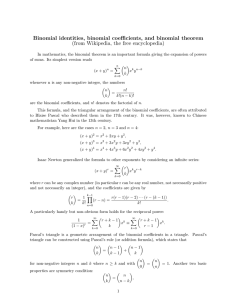 Binomial identities, binomial coefficients, and binomial theorem