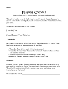 Famous Comets - Mr. Hill`s Science Website