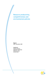 Resource productivity, competitiveness and environmental policies