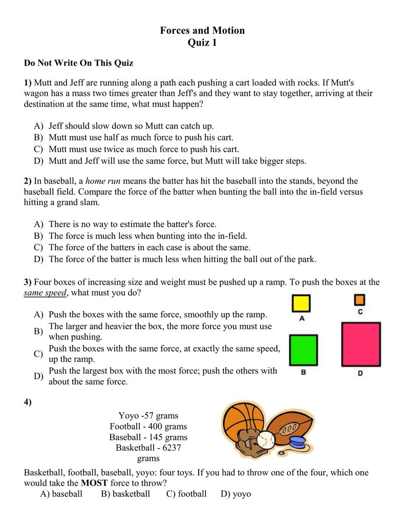 Forces and Motion Quiz 1