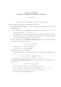 STAT 315: LECTURE 4 CHAPTER 4: CONTINUOUS RANDOM