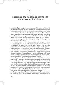 Strindberg and the modern drama and theatre (looking for a legacy)
