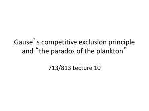"Gause`s competitive exclusion principle and ""the"
