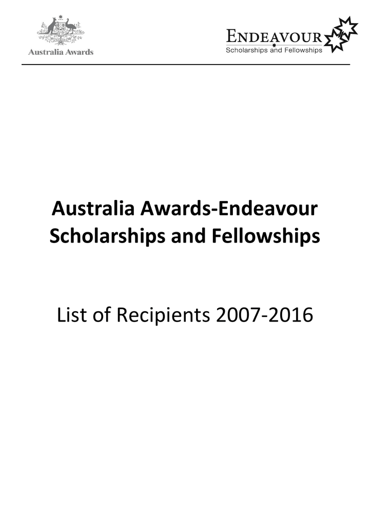 Australia Awards-Endeavour Scholarships and Fellowships List of