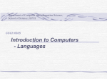 Languages - Computer Science@IUPUI