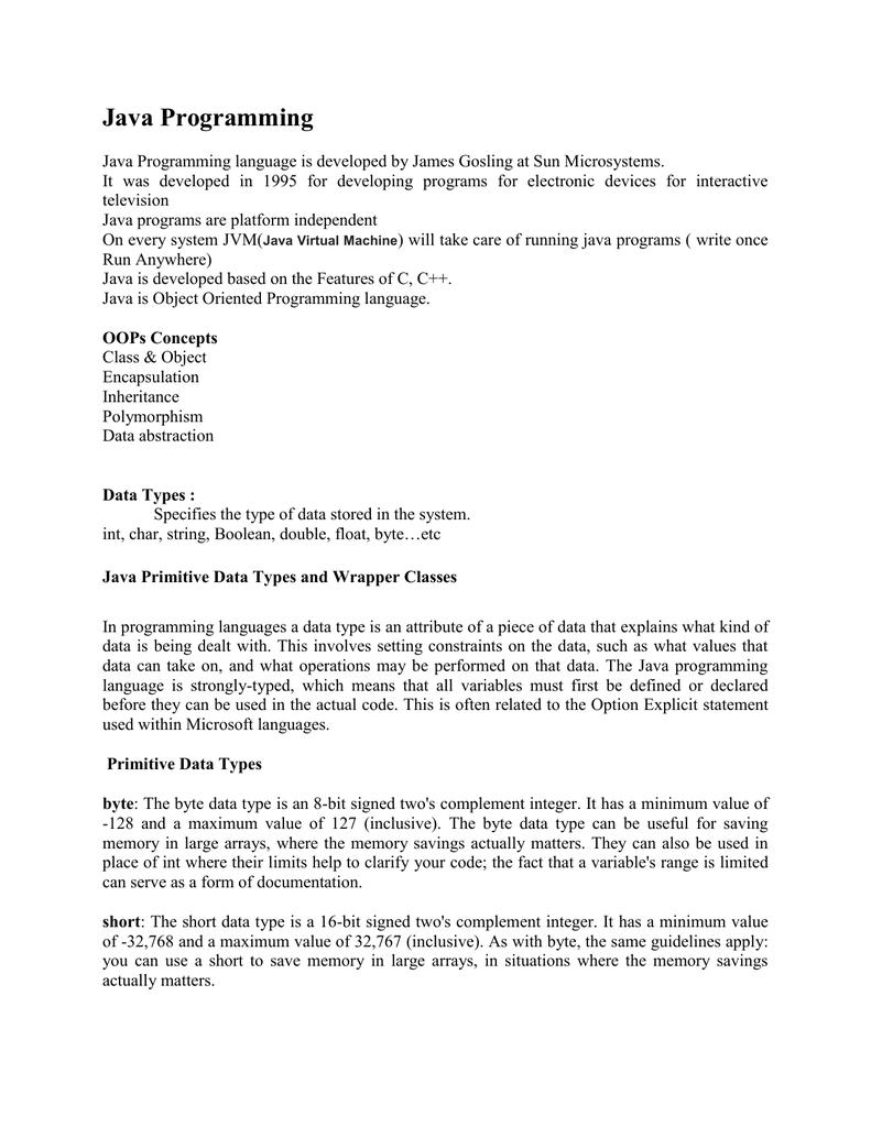Core Java Notes - Selenium4testing com