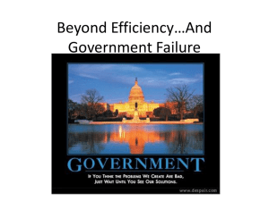 Beyond Efficiency…And Government Failure