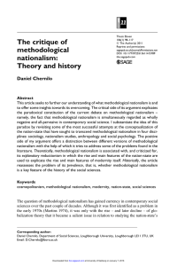 The critique of methodological nationalism: Theory and history