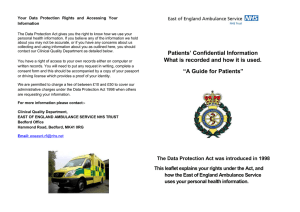 Patients` confidential information - East of England Ambulance Service