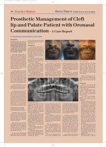 Prosthetic Management of Cleft lip and Palate Patient with Oronasal