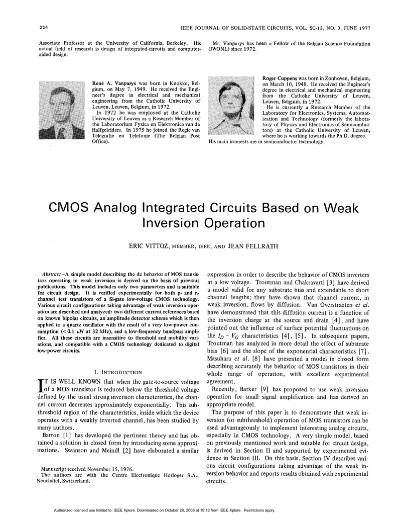 Cmos Analog Integrated Circuits Based On Weak Inversion Operations Gate Circuitry Inverter Circuit Using Igfets