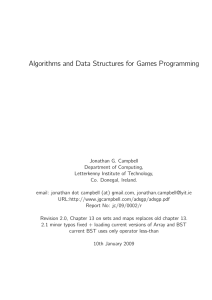 Algorithms and Data Structures for Games Programming