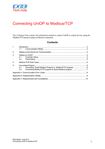 Connecting UniOP to Modbus/TCP