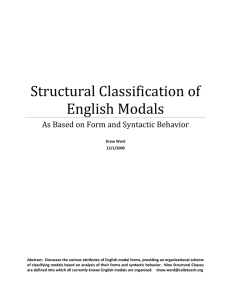 Structural Classification of English Modals