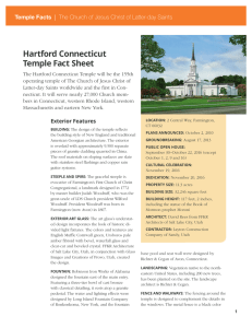 Hartford Connecticut Temple Fact Sheet