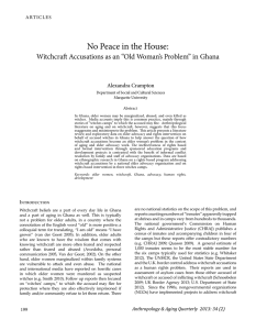 No Peace in the House - Association for Anthropology, Gerontology