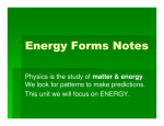 Energy Forms Notes