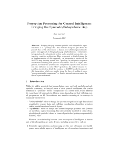 Perception Processing for General Intelligence