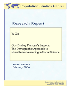 Otis Dudley Duncan`s Legacy: The