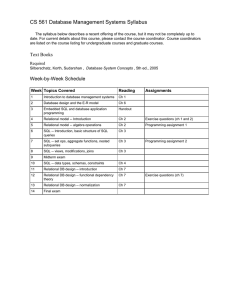 CS 561 Database Management Systems Syllabus