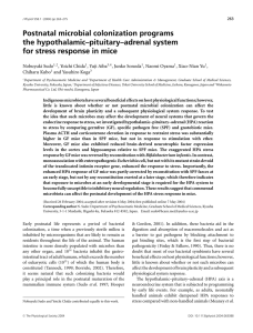 Postnatal microbial colonization programs HPA system for stress