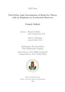 PhD Thesis First-Order Logic Investigation of Relativity Theory with