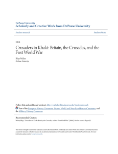 Crusaders in Khaki: Britain, the Crusades, and the First World War