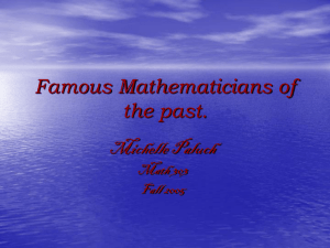 Famous Mathematicians of the Past