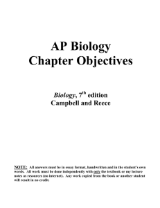 AP Biology Chapter Objectives