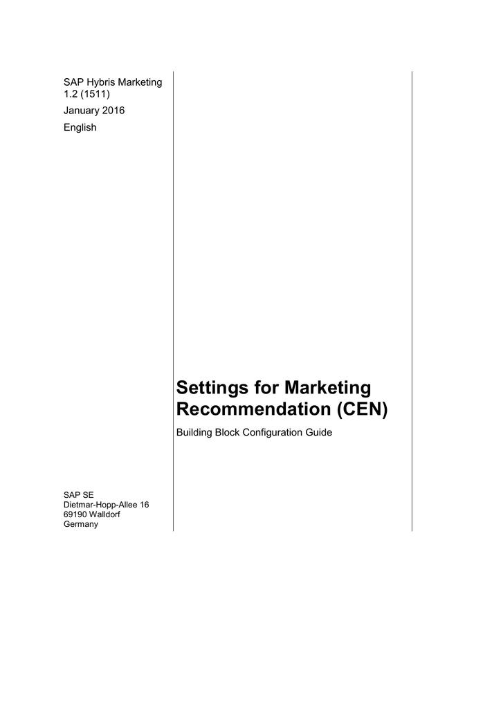 Configuration Guide - SAP Service Marketplace