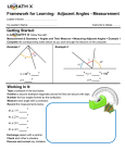 Framework for Learning: Adjacent Angles