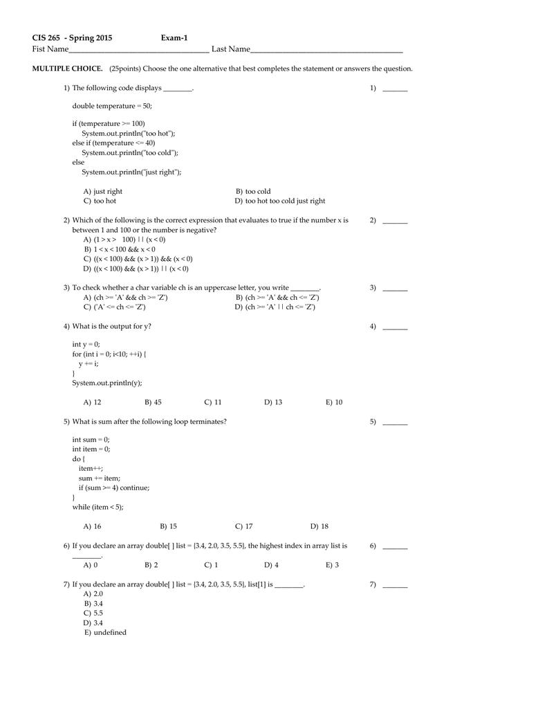 CIS 265   Spring 2015 Exam