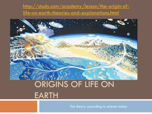 Yr 12 ORIGINS OF LIFE ON EARTH MA File
