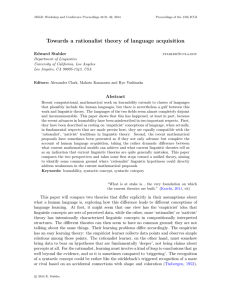 Towards a rationalist theory of language acquisition