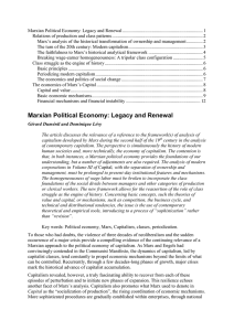 Marxian Political Economy: Legacy and Renewal