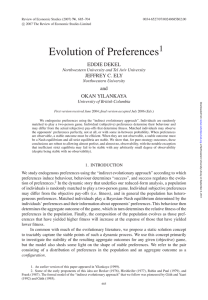 Evolution of Preferences - Northwestern University