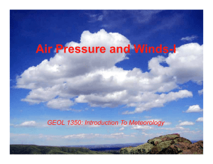 Air Pressure and Winds-I