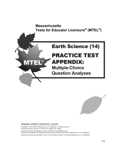Earth Science Multiple-Choice Question Analyses - MTEL