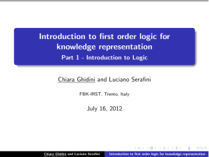Introduction to first order logic for knowledge representation