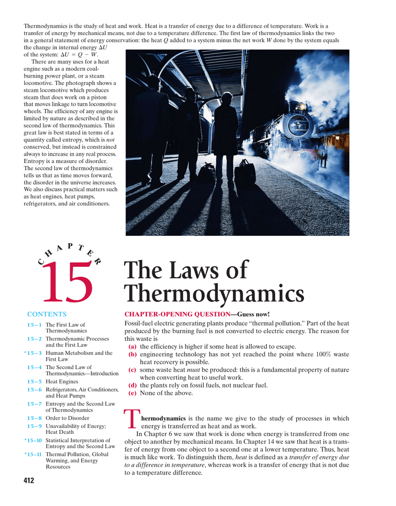 Ch 15 The Laws Of Thermodynamics Heat Engine Pv Diagram Physics