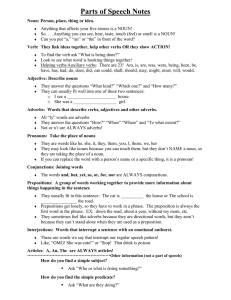 Christian`s Parts of Speech Notes