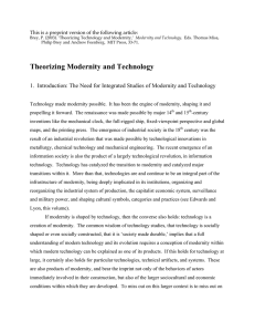 Theorizing Modernity and Technology