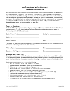 Anthropology Major Contract
