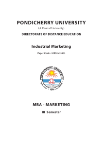 Industrial Marketing - Pondicherry University