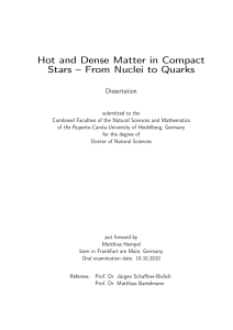 Hot and Dense Matter in Compact Stars – From Nuclei to Quarks