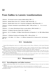 32 From Galileo to Lorentz transformations