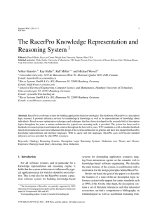 The RacerPro Knowledge Representation and Reasoning System1