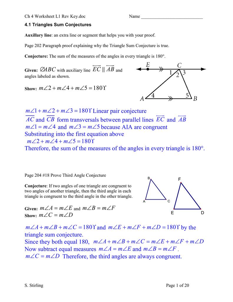 Ch 4 Worksheet L1 Rev Key