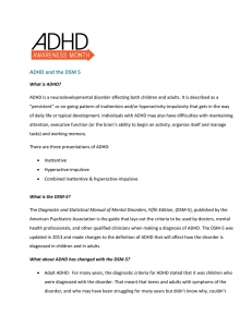 ADHD and the DSM 5 - ADHD Awareness Month